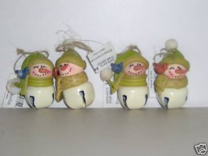 Crazy Mountain Stoebner 4 Snowman Bell Ornaments NEW F
