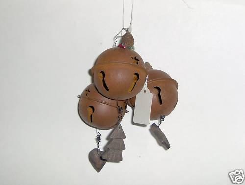 Dennis East Ball Bell Ornaments Primitive Set of 3 NEW