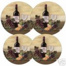 Wine & Vine Burner Covers Set of 4 NEW Round Grapes