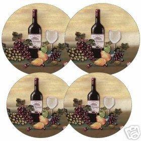 Wine & Vine Burner Covers Set of 4 NEW Round Grapes