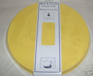 Sunny Yellow Solid Stovetop Burner Cover Set of 4 NEW