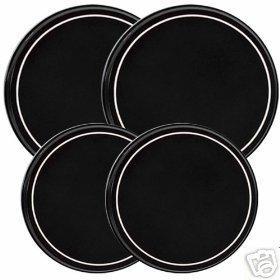 Black w/White Stripe Stovetop Burner Cover Set of 4 NEW