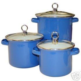 Bright AZURE BLUE Stock Pot Set 6 Piece NEW Enamel