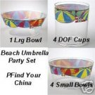 Pfaltzgraff Beach Umbrella Party Bowl/Cup Set NEW 9 Pc