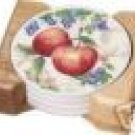 Corelle Chutney Coasters w/Holder Wood NEW USA