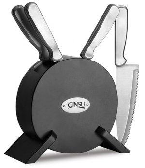 Ginsu Kotta Series 5 Piece Prep Knife Set With Round Storage Block - Black