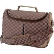 Gigi Chantal Brown Checkered Tapestry Vanity Bag