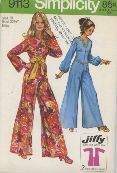 Simplicity 9113 Vintage Jumpsuit Sewing Pattern dated 1970