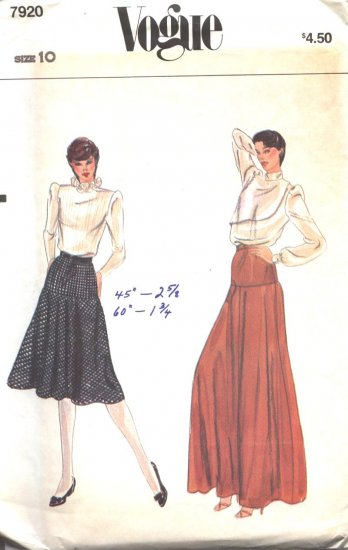 Vogue 7920 Vintage Skirt Sewing Pattern Size 10