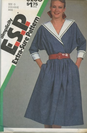Simplicity 6280 Vintage Sailor Inspired Dress Sewing Pattern dated 1983 Uncut