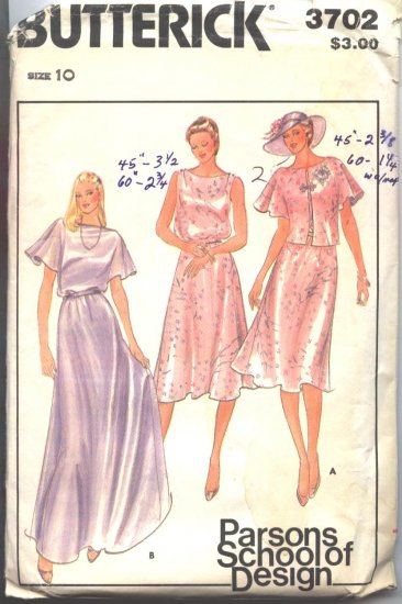 Butterick 3702 Vintage Dress/Gown and Crop Jacket Sewing Pattern