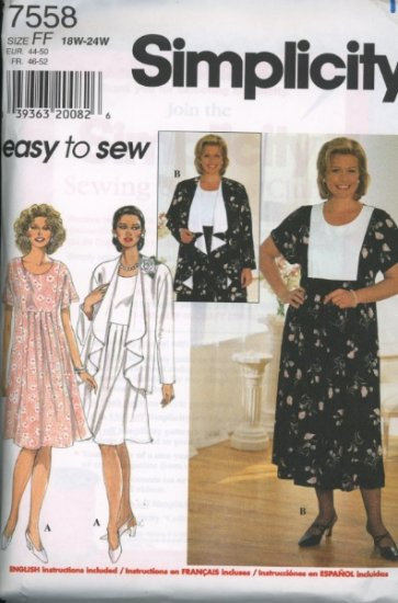 Simplicity 7558 Plus Size Dress and Jacket Sewing Pattern