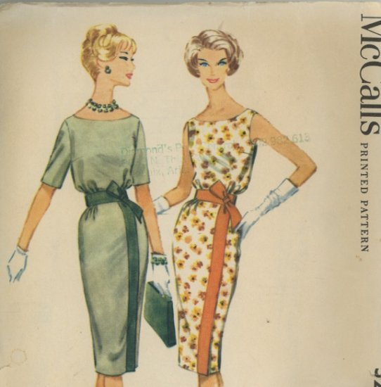 McCall's 5275 Vintage 1959 Wiggle Dress Sewing Pattern Size 14