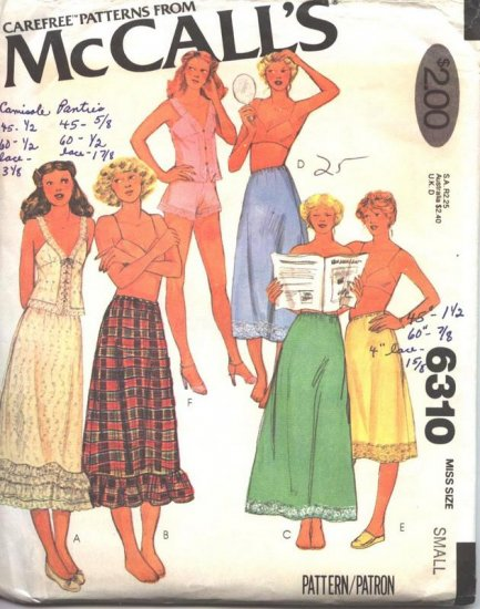 McCall's 6310 Vintage 1978 Lingerie Sewing Pattern Petticoat, Camisole, Half Slip and Panty