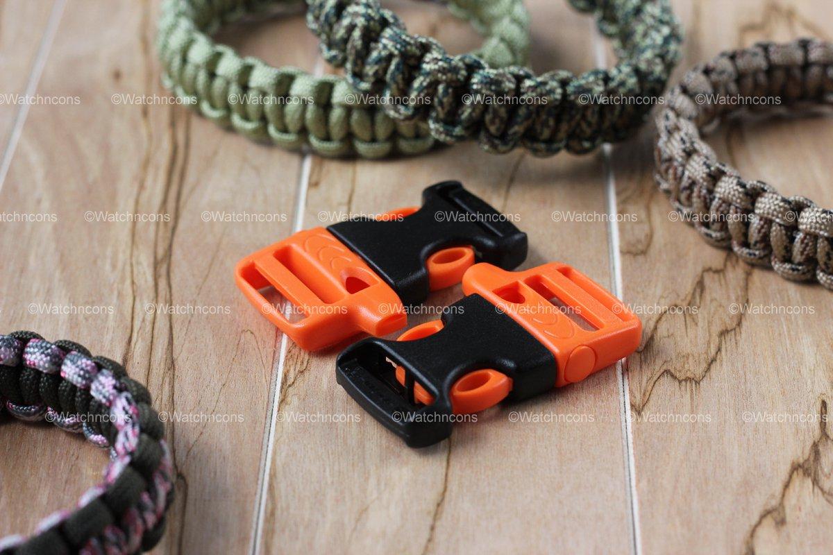 "2 ITW Nexus WhistleLoc 3/4"" Whistle Buckles - Orange for Paracord Bracelets"