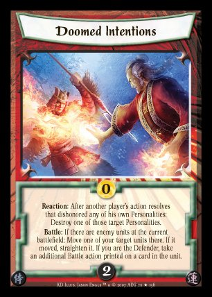 L5R KD Doomed Intentions Rare Action/Strategy Card