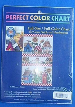 Birdhouses Needlepoint Counted Cross Stitch Chart