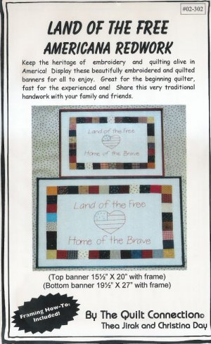 Land Free Home Brave Embroidery Quilt Pattern