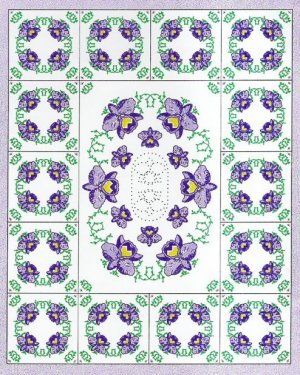 Purple Orchid Medallion Twin Quilt Top