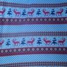 Blue Reindeer Trees Fleece for Blanket