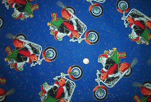 Christmas Santa on Harley Quilt Fabric OOP