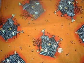 Haunted House Halloween Quilt Fabric