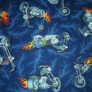 Motorcycle Harley Chopper Flames Kids Quilt Fabric OOP