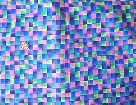 Multicolor Check Purple Mottled Kids Quilt Fabric