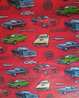 Muscle Cars On Red Kids Quilt Fabric Oop