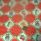 Retro Engelbreit Red Cherries Kids Quilt Fabric OOP
