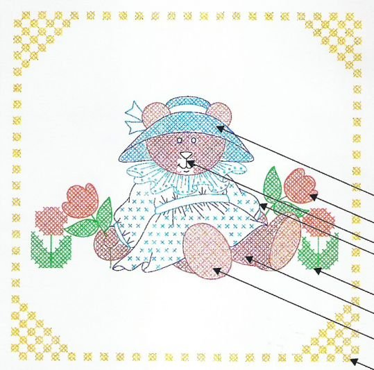 Teddy with Tulips Quilt Blocks