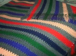 Heavy Multicolor Striped Crocheted Afghan