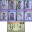 Lot of 9 Vintage Teen Skirt Tee Pants Shorts Patterns