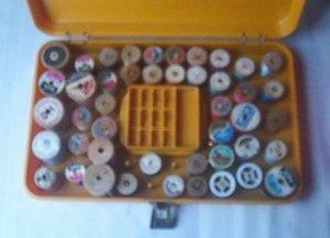 2 Vintage Sewing Baskets Thread Holder Wooden Spools