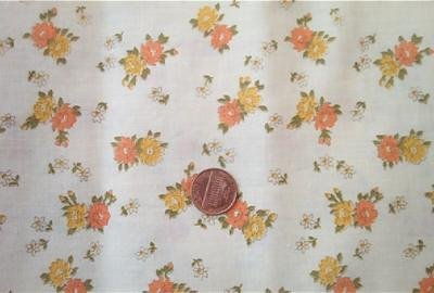 Orange and Yellow Flowers on Beige Fabric