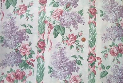 Lilacs and Roses on Cream Fabric