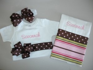 Monogrammed Baby Gift Sets