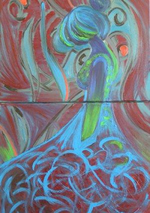 I Wonder...Acrylic Diptych Painting on Canvas by SAMOS