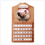 Wood Rooster Calendar and Clock