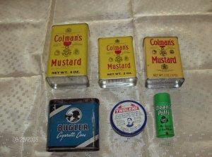 Lot of 6 different vintage tins