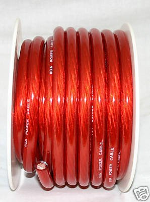 0 GAUGE RED POWER WIRE CABLE 25 FT FEET NEW  PC0-25RE