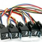 5 Pack 12V OEM Relay & 5-Wire Interlocking Socket NEW S