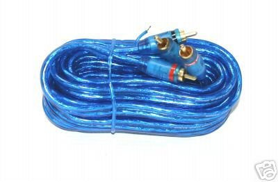 BLUE RCA  CABLE 12 FT GOLD  RCA 2 MALES GRD WIRE NEW