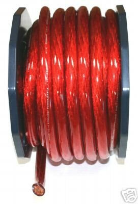 0 GAUGE RED POWER WIRE SUPERFAT per 24 ft 100%copper