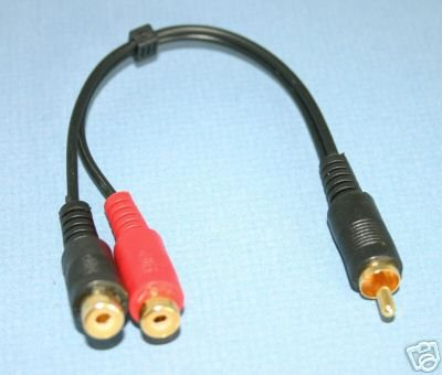 RCA GOLD Y SPLITTER CABLE MALE TO 2 FEMALE PREMIUM 0167