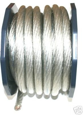 0 GAUGE SILVER POWER WIRE SUPERFAT per 24 ft 100%COPPER