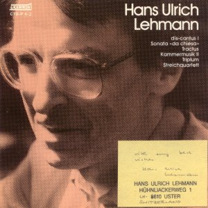 Hans Ulrich Lehmann Grammont CTS-P 4-2 (with signed not by composer) Swiss Imported CD