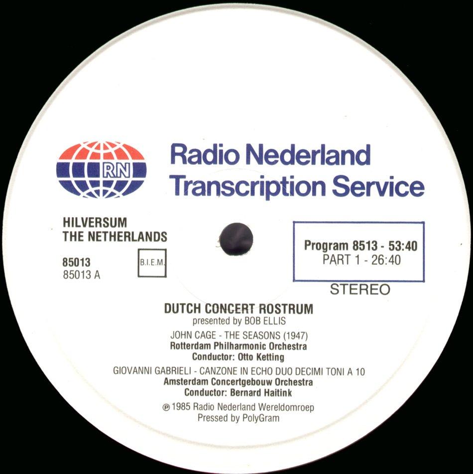 John Cage Seasons Rotterham Phil Otto Ketting Radio Nederland Transcription Disc 2LP set
