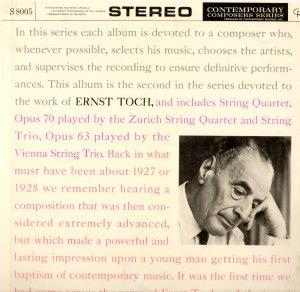 Ernst Toch Zurich String Quartet Vienna Trio Contemporary S 8005 STEREO Still Sealed LP