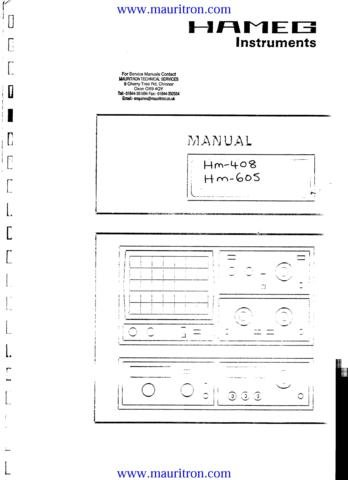 HAMEG HM408 Service Manual with Schematics Circuits on Mauritron CD